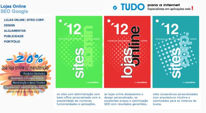 Lojas online e webdesign monolithos