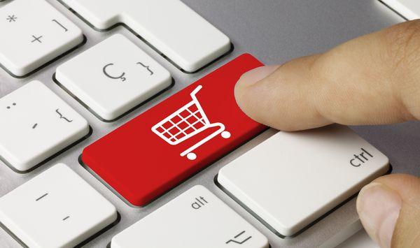shop cart keyboard key. Finger